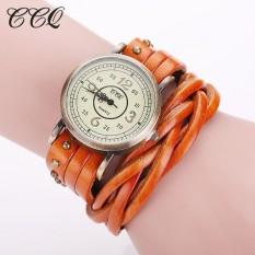 CCQ Brand Fashion Vintage Retro Rivet Braided Genuine Leather Bracelet Watch Women Quartz Watch Clock Relogio Feminino 1513(Orange)