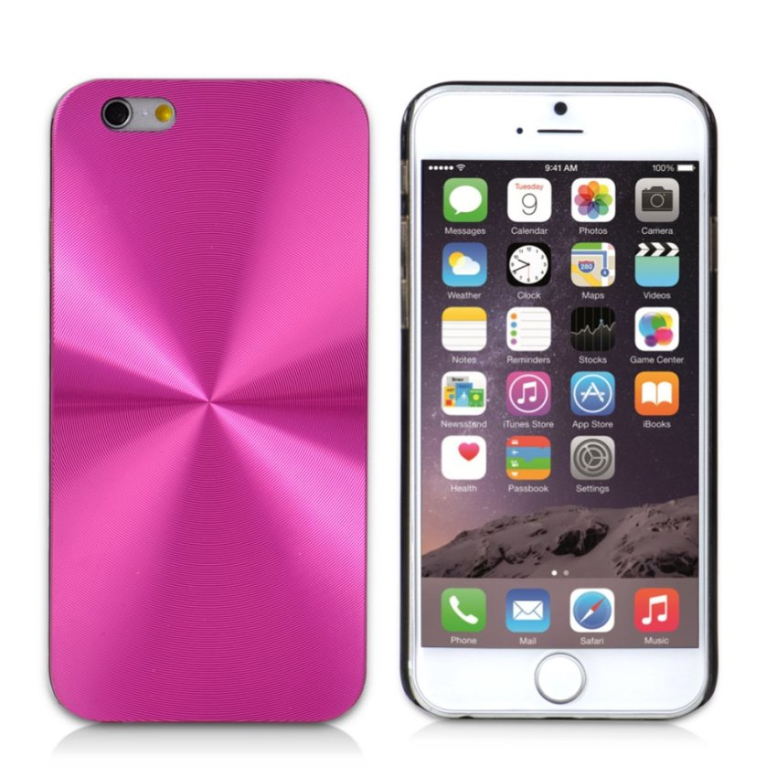 CD Line Pattern Glare Metal Hard Slim Case Cover for iPhone 6/6S 6s (Pink) (Intl)