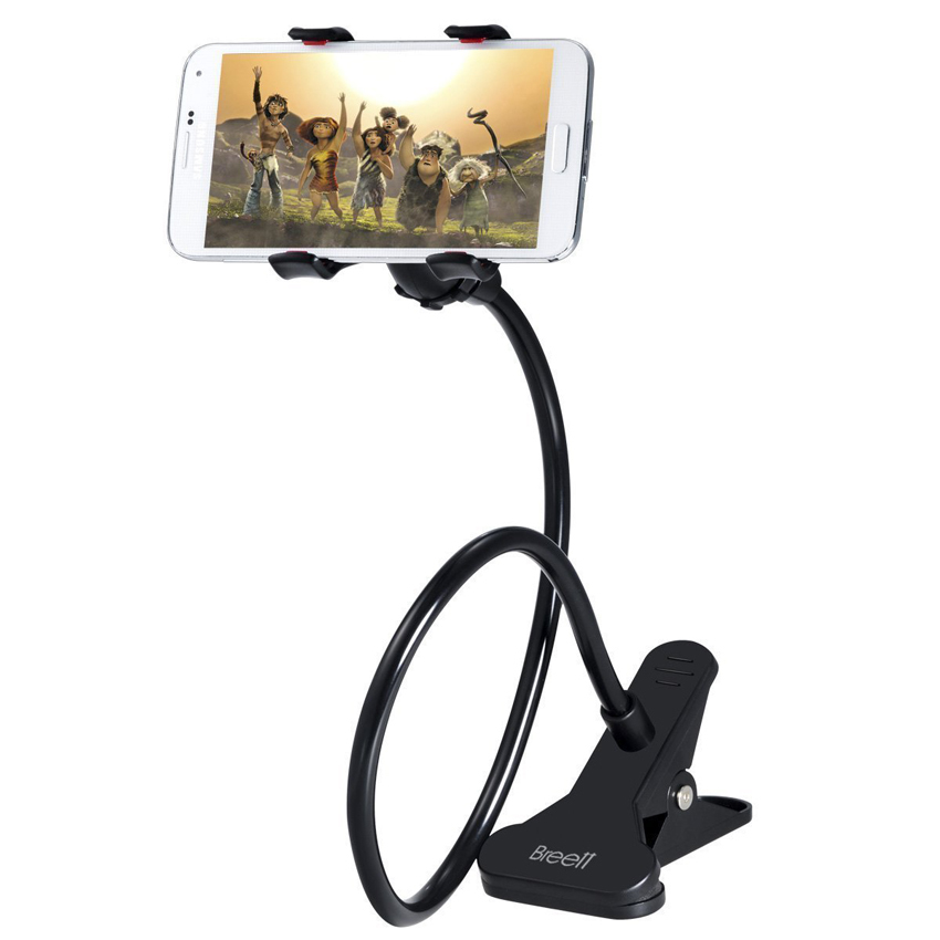 Cell Phone Holder, Breett Universal Cell Phone Clip Holder Lazy Bracket Flexible Long Arms for iPhone, GPS Devices Black (Intl)