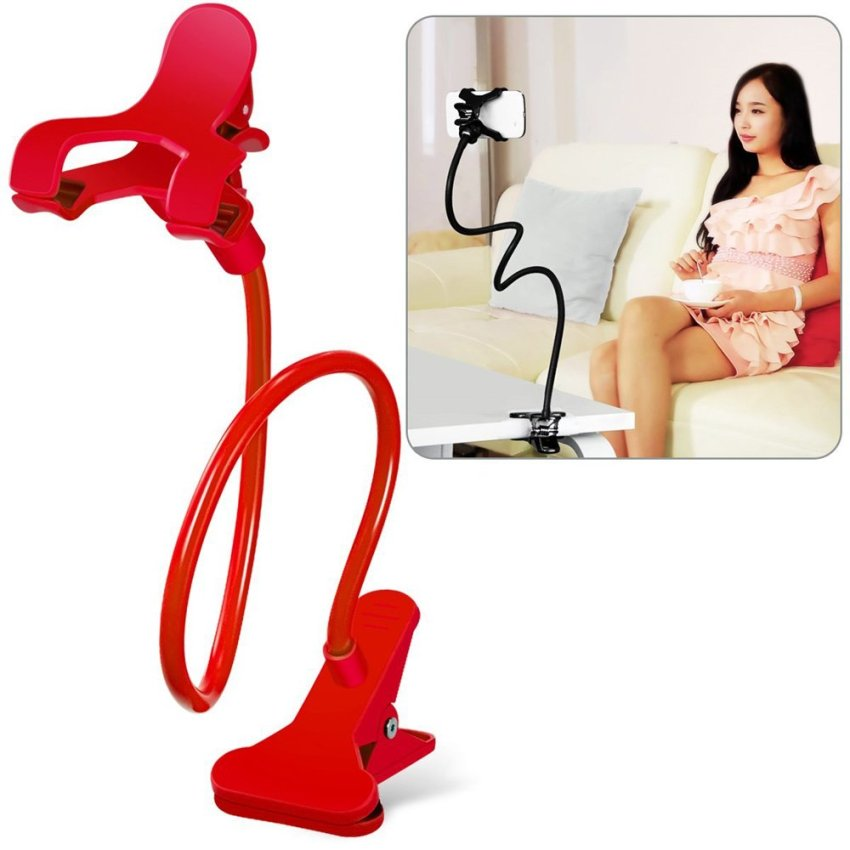 Cell Phone Holder, Breett Universal Cell Phone Clip Holder Lazy Bracket Flexible Long Arms for iPhone, GPS Devices, Fit On Desktop Bed Mobile Stand for Bedroom, Office, Bathroom, Kitchen(Red) (Intl)