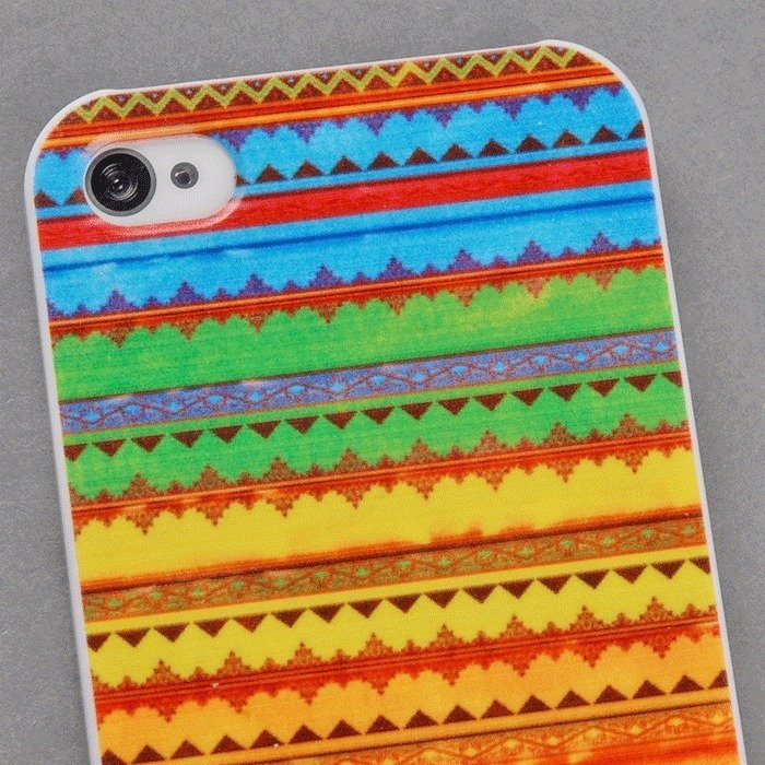 Classic Stripe Chromatic Stripe Back Shell Skin Protector Case for Iphone 4 4S (Multicolor) (Intl)