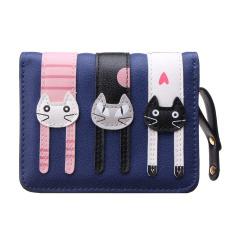 Clutch Change Coin Cards Bag Women Purse Ladies Handbag Short Mini Cats Wallet Dark Blue - INTL