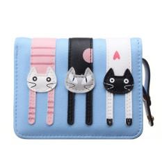 Clutch Change Coin Cards Bag Women Purse Ladies Handbag Short Mini Cats Wallet Light Blue (Intl)