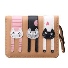 Clutch Change Coin Cards Bag Women Purse Ladies Handbag Short Mini Cats Wallet Light Brown - Intl