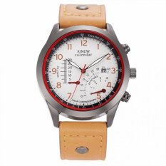 Coconiey XINEW Military Leather Waterproof Date Quartz Analog Army Men's Quartz Wrist Watches Khaki- Intl