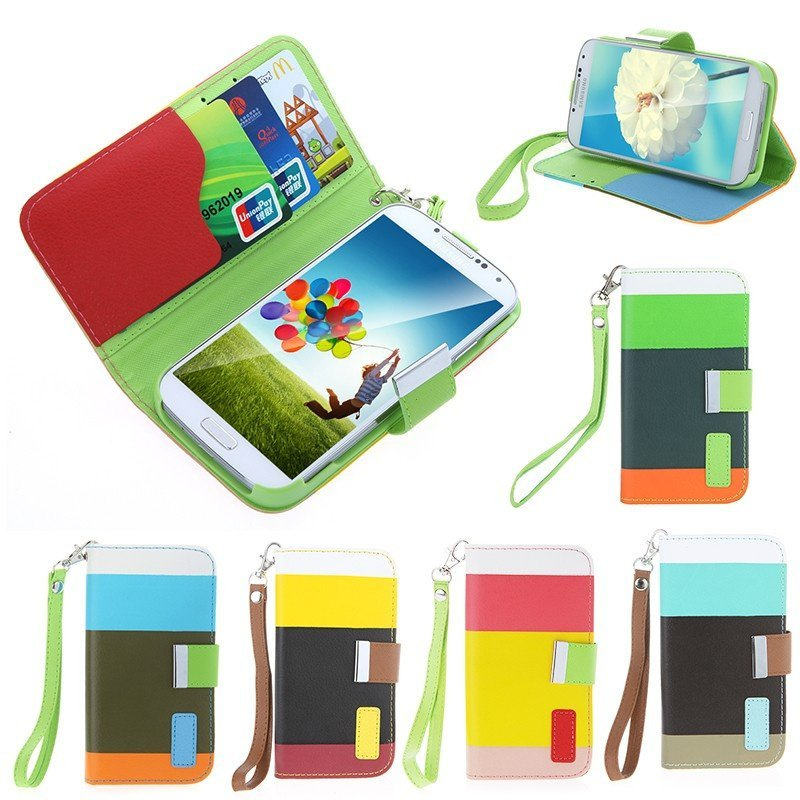Colorful Leather Wallet Case Flip Leather Stand Cover with Card Holder for Samsung Galaxy S4 i9500/i9505 (Intl)