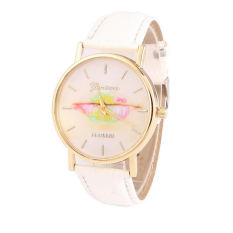 Colorful Women's Fashion Lips Print Design Dial Leather Band Analog Quartz Wrist Watch (White)