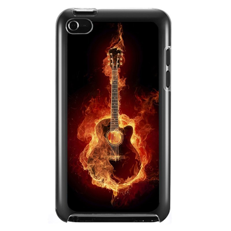 Cool Fire Guitar Phone Case for iPod Touch 4 (Black)