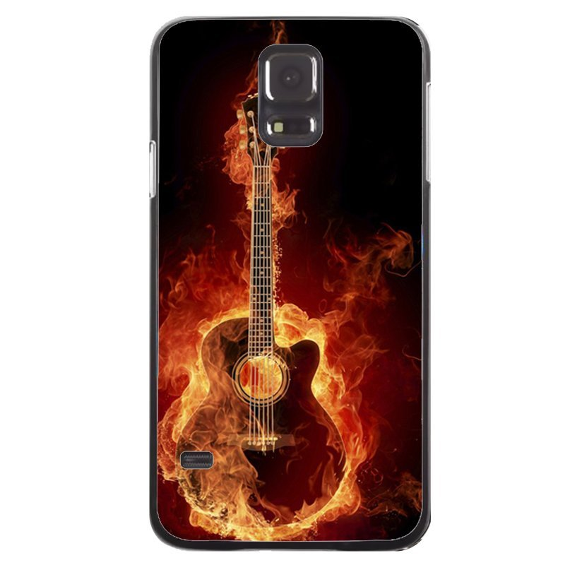 Cool Fire Guitar Printed Phone Case for Samsung Galaxy S5 (Black)