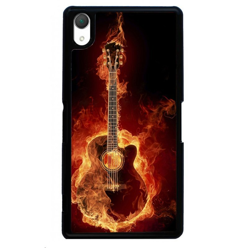 Cool Fire Guitar Printed Phone Case for SONY Xperia Z3 (Black)