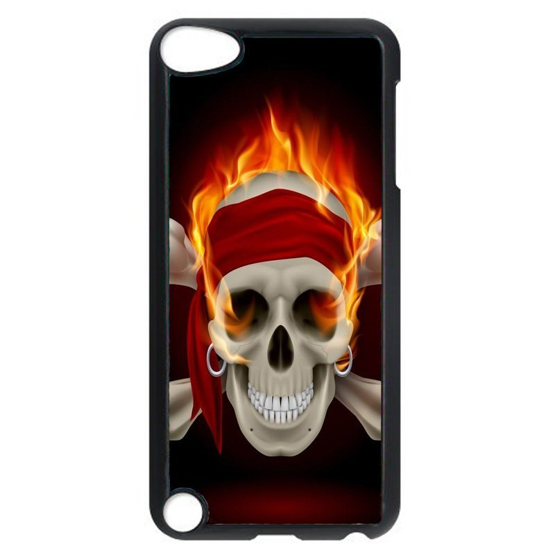 Cool Skull On Fire Pattern Phone Case for iPod Touch 4 (Black)