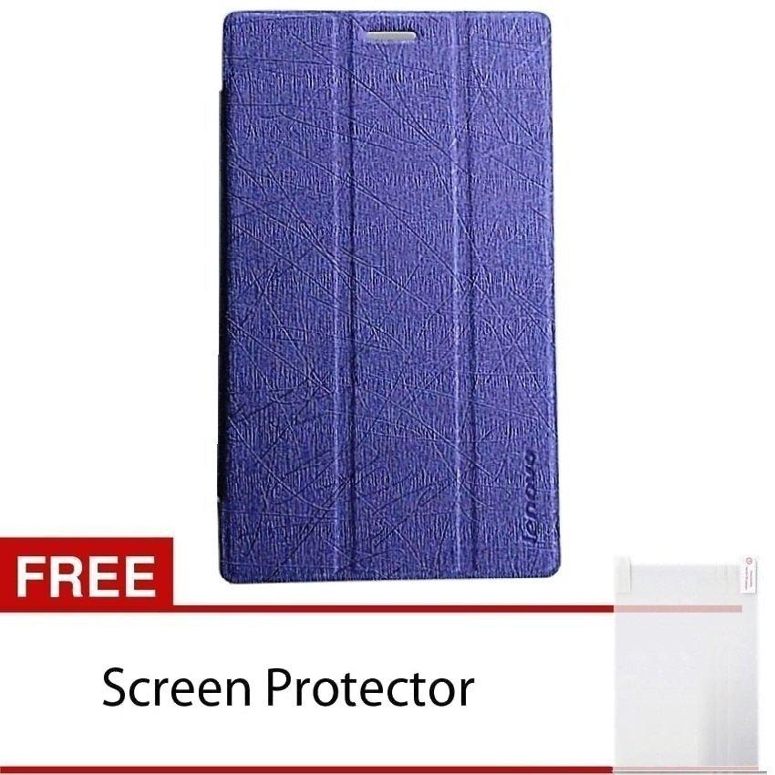 Cover Folio Case Lenovo Tab 2 A7-10F Leather Case – Ungu + Free Screen Protector
