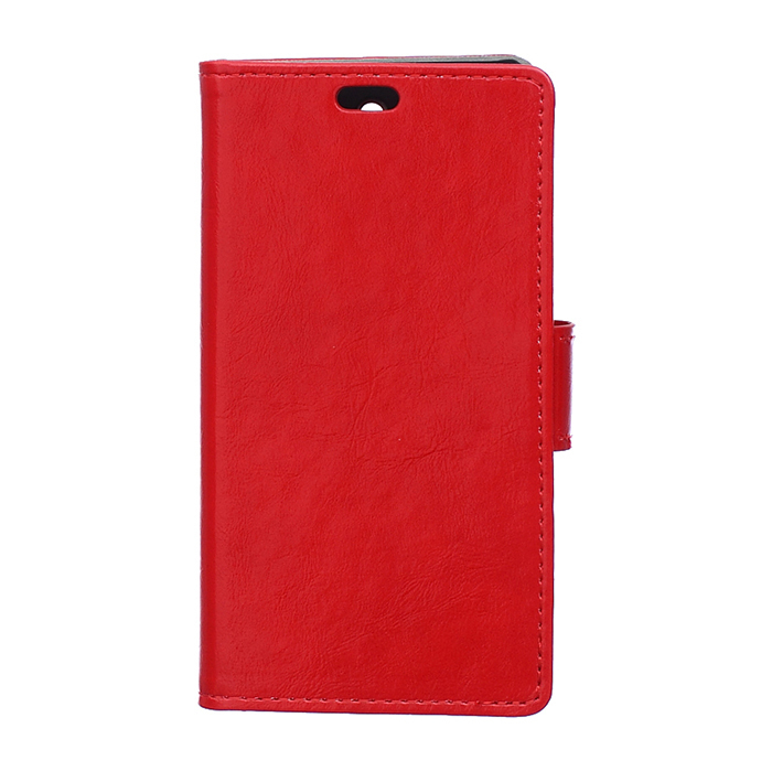 Crazy-Horse Leather Flip Case With Card Slot For Alcatel One Touch Pop Up 6044D Red Color (Intl)