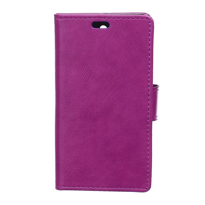 Crazy-Horse Leather Flip Case With Card Slot For Samsung Galaxy Trend 2 Lite G318H Purple Color (Intl)