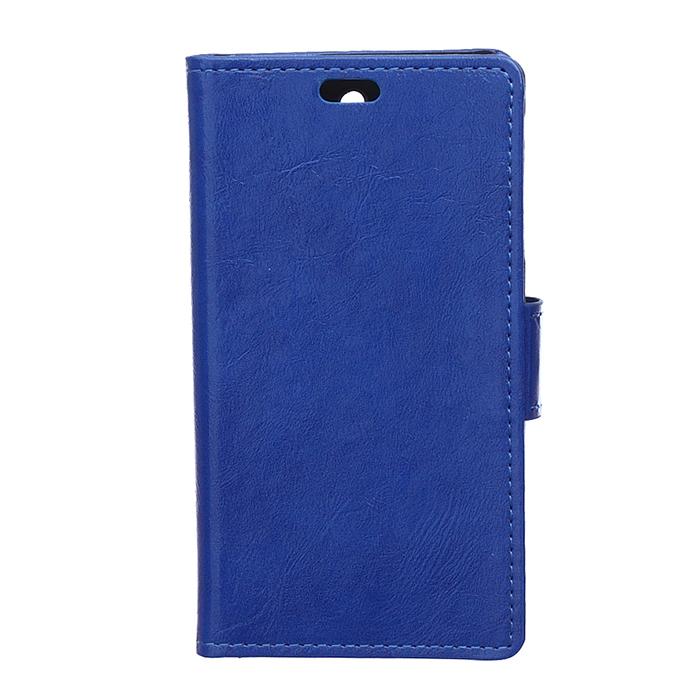 Crazy-Horse Leather Flip Case With Card Slot For Wiko Pure 4G Blue Color (Intl)