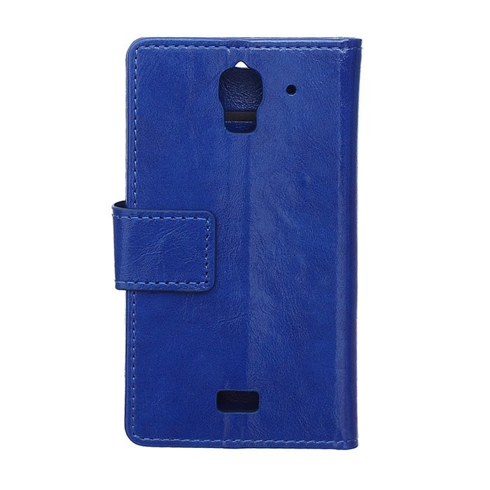 Crazy-Horse Leather Flip Cover for Huawei Ascend Y360 (Blue) (Intl)