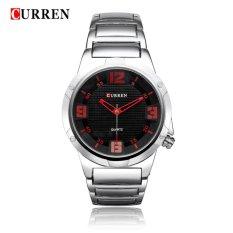 Curren 8111 Bold (Silver Black-Red) / Jam Tangan Kasual Pria / Stainless Steel - Tahan Air
