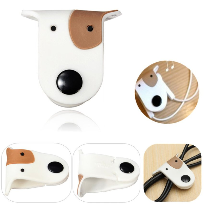 Cute Doggie Earphone Earbud Headphone Cable Cord Organizer Manager Wrap Winder White (Intl)
