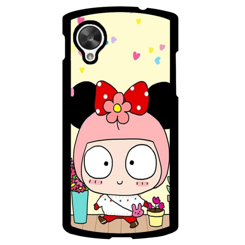 Cute Girl Pattern Phone Case for LG Nexus 5 (Black)