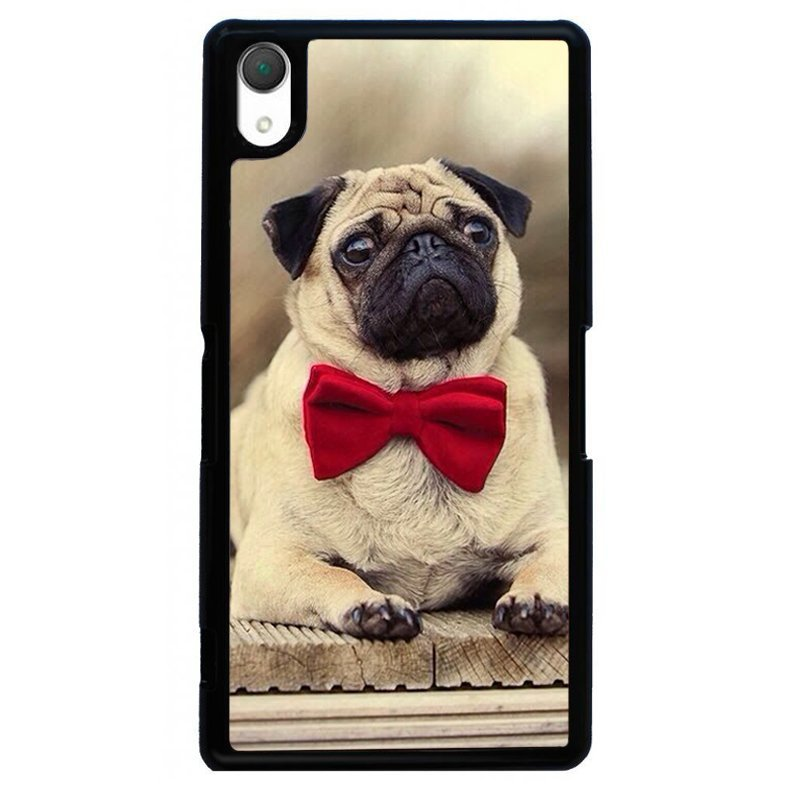Cute Pug Puppy Painting Phone Case for SONY Xperia Z3 (Black)