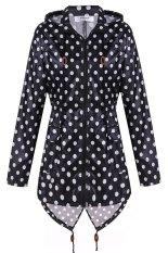 Cyber Meaneor Women Girls Dot Raincoat Fishtail Hooded Print Jacket Rain Coat (Black And White) (Intl)