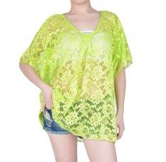 Cyber Women Summer Green Sexy Lace Floral Short Sleeve Swimwear Bikini Cover Up Beach Dress