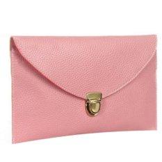 Cyber Women'S Golden Chain Envelope Purse Clutch Synthetic Leather Handbag Shoulder Bag&Nbsp;Dinner Party (Pink) (Intl)