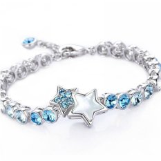 Czech Crystal Bracelets For Women Wedding Silver Chain Bracelets 2015 Fashion Friendship Bracelets Jewelry (Intl)
