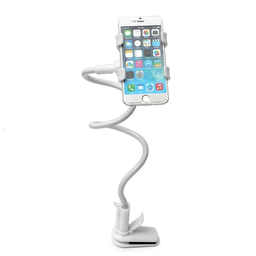 DHS Telescopic Plastic Clamp Holder Cradle Stand Mount For Mobile Phone Tablet White (Intl)