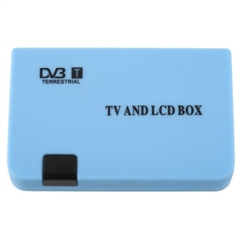 Digital TV Box LCD VGA AV Tuner DVB-T Terrestrial Freeview Receiver With EU-plug Power Adapter (Blue)