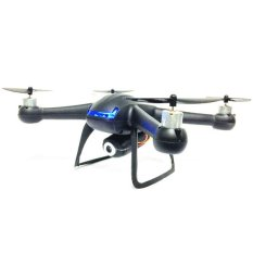 DM007 2.4GHz 4 CH RC Quadcopter 6 Axis Gyro Explorer UFO with LCD Remote Control with 0.3MP Camera - Black - Intl