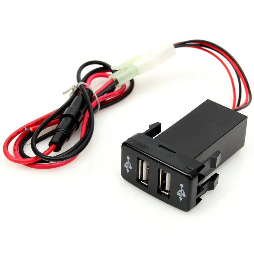 Dual 2-port Auto Car Charger USB Adapter Phone PDA DVR+ Audio Input For TOYOTA (Intl)