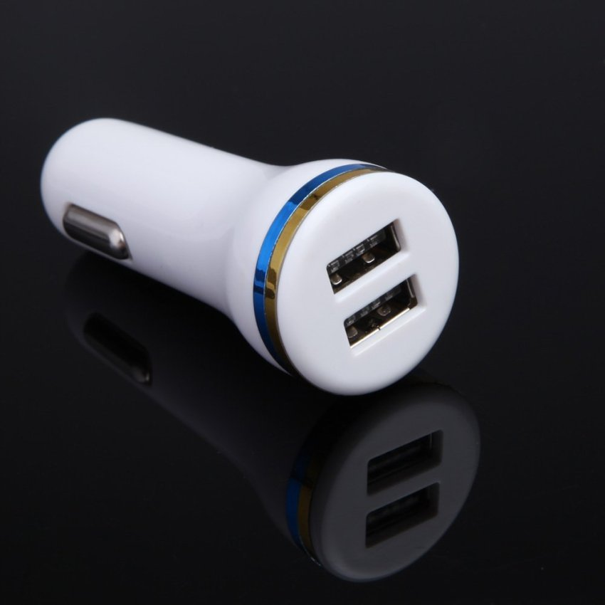 Dual USB Car Charger Charging Adapter DC 12-24V for Mobile Phone White