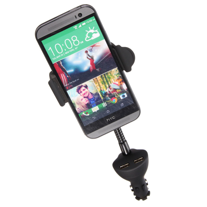 Dual USB Car Mount Stand Holder Cigarette Lighter Charger For iPhone 6 Plus 6 5 (Intl)