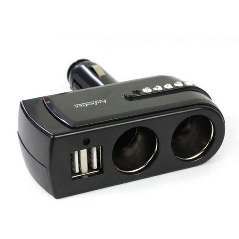 Dual USB Port Charger with Twin Way Car Cigarette Lighter Power Socket Splitter Charger Adapter (Black) (Intl)
