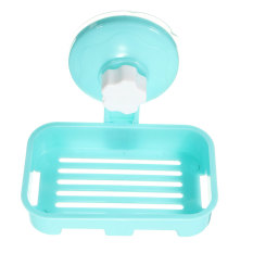 Durable Plastic Bathroom Shower Strong Suction Cup Soap Dish Tray Wall Holder Blue - Intl