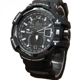 Dziner Dual Time - Jam Tangan Sport Pria - Rubber Strap - DZ-8068 Black White
