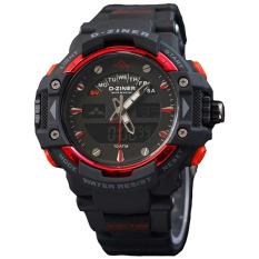 Dziner Dual Time - Jam Tangan Sport Pria - Rubber Strap - DZ8139 Hitam Merah
