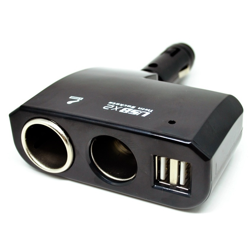 E-Cigarette Car Charger Cigarette Lighter Splitter 2 Socket with 2 USB 5V 2.1A - Hitam