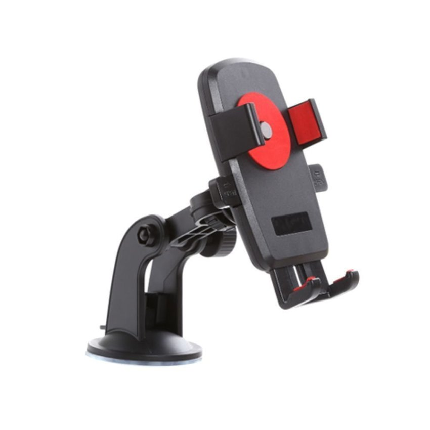 Easy One Touch 360 Degree Rotatable Car Mount Bracket Holder for iPhone Cellphone GPS/MP4/PDA (Red) (Intl)