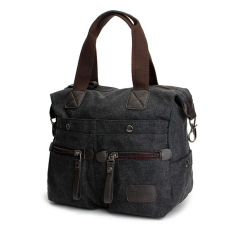 Ekphero Women Men Canvas Multi Pocket Handbags Casual Pillow Shoulder Crossbody Bags Black - INTL
