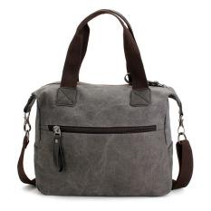 Ekphero Women Men Canvas Multi Pocket Handbags Casual Pillow Shoulder Crossbody Bags Gray - INTL