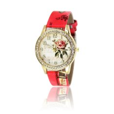 Elegant Delicate Diamond Vintage Rose Flower Leather Band Wrist Watch For Lady Women (Red) (Intl)