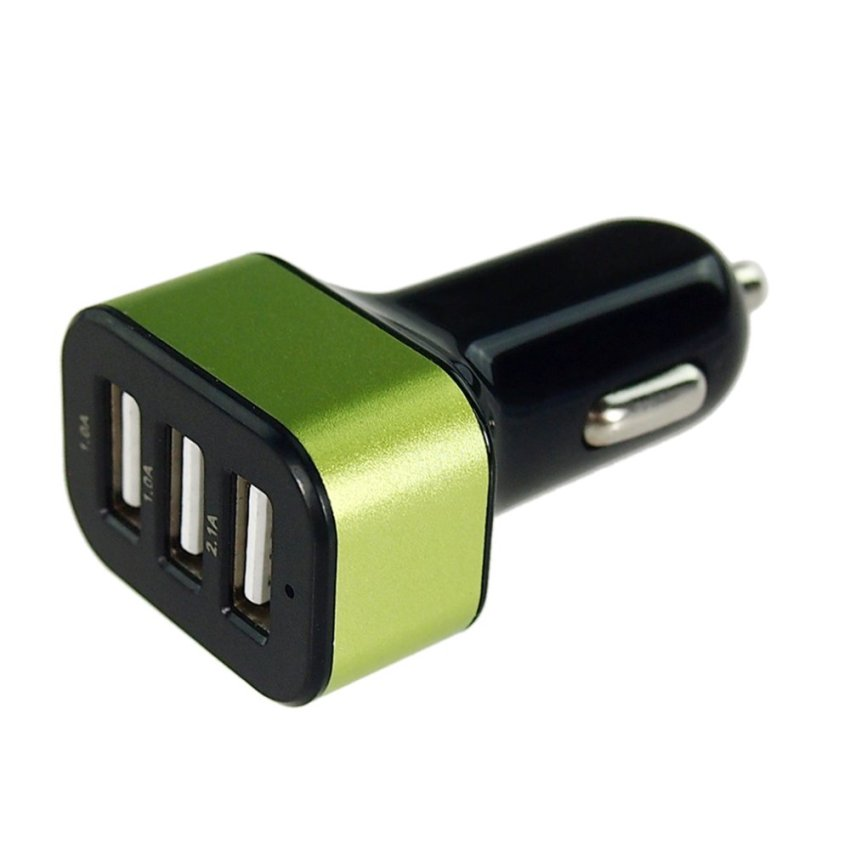 ELENXS Smooth Candy-Colored Frosted 3 Port USB Car Charger (Green)