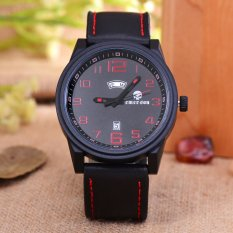 Emerson - Jam Tangan Pria - Body Black - Black / Red Dial - Black Leather Strap - EM-5598-T / H-BBR