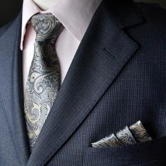 EOZY Men's Formal Commercial Gentleman Tie And Pocket Towel Set Polyester Silk Neckties Business Vintage Wedding Ties (Silver)