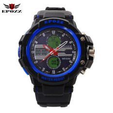 EPOZZ Men Sports Racing Dive Electronic Digital Military Waterproof Watches (Blue)