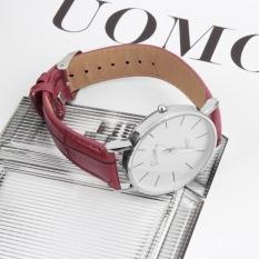 ERA Fashion Dalas Men Women Simple Style Big 3 Hand PU Leather Quartz Wrist Watch (Red) - Intl