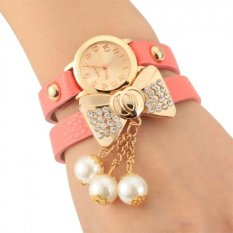 ETOP Lady Women's Bow-knot Beads Rhinestone Artificial Leather Bracelet Wristwatch (Pink)