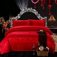Europe Luxury Optimal Silk Wedding Bedding Collection 4 Piece Set (Red)
